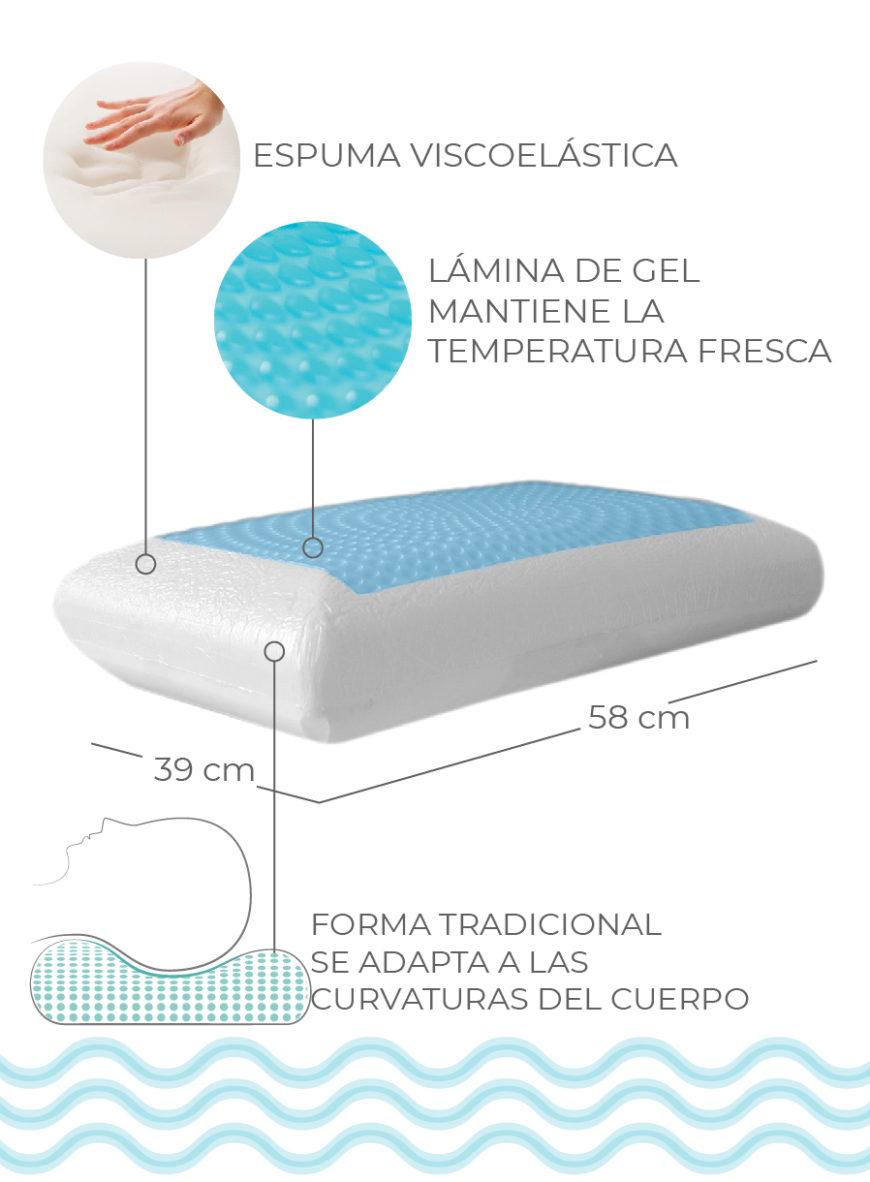 Almohada con gel memory lux tradicional 29